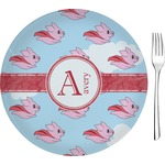 """Flying Pigs Glass Appetizer / Dessert Plates 8"""" - Single or Set (Personalized)"""
