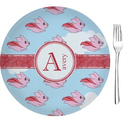 "Flying Pigs Glass Appetizer / Dessert Plates 8"" - Single or Set (Personalized)"