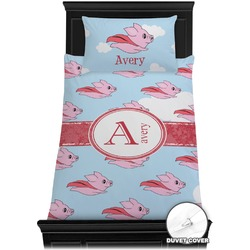 Flying Pigs Duvet Cover Set - Twin (Personalized)