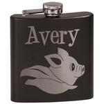 Flying Pigs Black Flask Set (Personalized)