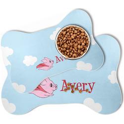 Flying Pigs Bone Shaped Dog Food Mat (Personalized)