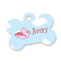 Flying Pigs Bone Shaped Dog ID Tag (Personalized)