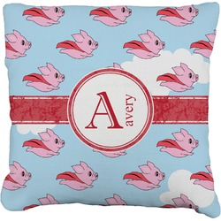 """Flying Pigs Faux-Linen Throw Pillow 26"""" (Personalized)"""