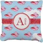 Flying Pigs Faux-Linen Throw Pillow (Personalized)