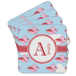 Flying Pigs Cork Coaster - Set of 4 w/ Name and Initial