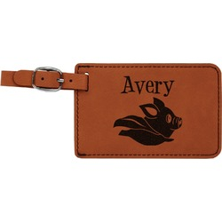 Flying Pigs Leatherette Luggage Tag (Personalized)