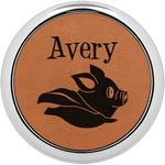 Flying Pigs Leatherette Round Coaster w/ Silver Edge - Single or Set (Personalized)