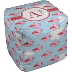 Flying Pigs Cube Pouf Ottoman (Personalized)