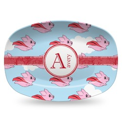 Flying Pigs Plastic Platter - Microwave & Oven Safe Composite Polymer (Personalized)