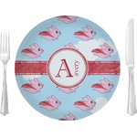"""Flying Pigs Glass Lunch / Dinner Plates 10"""" - Single or Set (Personalized)"""