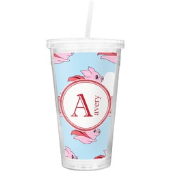 Flying Pigs Double Wall Tumbler with Straw (Personalized)