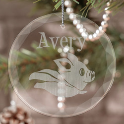 Flying Pigs Engraved Glass Ornament (Personalized)
