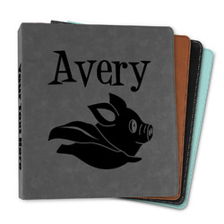 """Flying Pigs Leather Binder - 1"""" (Personalized)"""