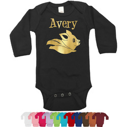 Flying Pigs Foil Bodysuit - Long Sleeves - Gold, Silver or Rose Gold (Personalized)
