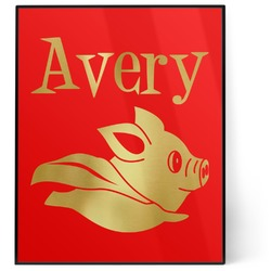 Flying Pigs 8x10 Foil Wall Art - Red (Personalized)