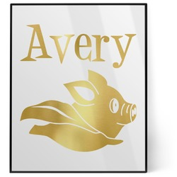 Flying Pigs 8x10 Foil Wall Art - White (Personalized)