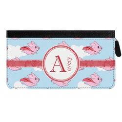 Flying Pigs Genuine Leather Ladies Zippered Wallet (Personalized)