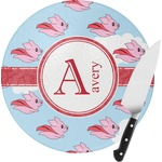 Flying Pigs Round Glass Cutting Board (Personalized)