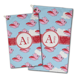 Flying Pigs Golf Towel - Full Print w/ Name and Initial