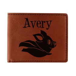 Flying Pigs Leatherette Bifold Wallet - Single Sided (Personalized)