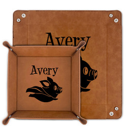 Flying Pigs Faux Leather Valet Tray (Personalized)