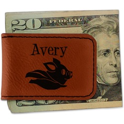 Flying Pigs Leatherette Magnetic Money Clip (Personalized)