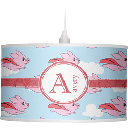 Flying Pigs Drum Pendant Lamp Linen (Personalized)