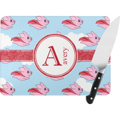 Flying Pigs Rectangular Glass Cutting Board (Personalized)