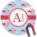 Flying Pigs Round Magnet (Personalized)