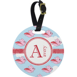 Flying Pigs Plastic Luggage Tag - Round (Personalized)
