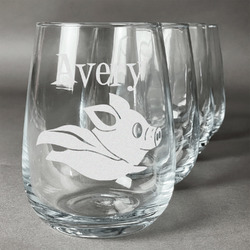 Flying Pigs Wine Glasses (Stemless- Set of 4) (Personalized)