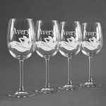 Flying Pigs Wine Glasses (Set of 4) (Personalized)