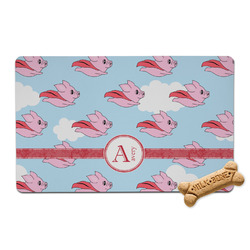 Flying Pigs Pet Bowl Mat (Personalized)