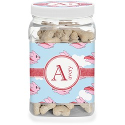 Flying Pigs Dog Treat Jar (Personalized)