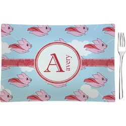 Flying Pigs Glass Rectangular Appetizer / Dessert Plate - Single or Set (Personalized)