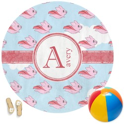 Flying Pigs Round Beach Towel (Personalized)