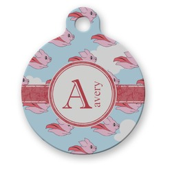 Flying Pigs Round Pet ID Tag (Personalized)