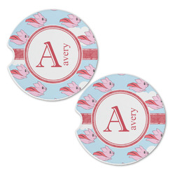 Flying Pigs Sandstone Car Coasters - Set of 2 (Personalized)