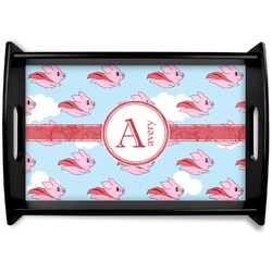 Flying Pigs Black Wooden Tray (Personalized)