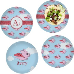 """Flying Pigs Set of 4 Glass Lunch / Dinner Plate 10"""" (Personalized)"""
