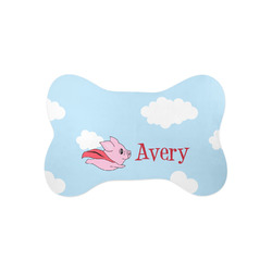 Flying Pigs Bone Shaped Dog Food Mat (Small) (Personalized)