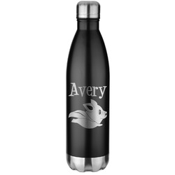 Flying Pigs Black Water Bottle - 26 oz. Stainless Steel  (Personalized)