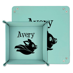 Flying Pigs Teal Faux Leather Valet Tray (Personalized)