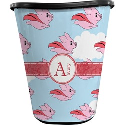 Flying Pigs Waste Basket - Double Sided (Black) (Personalized)