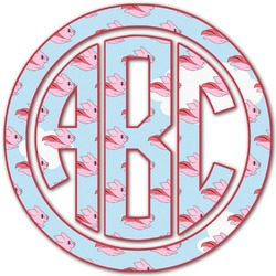 Flying Pigs Monogram Decal - Custom Sizes (Personalized)