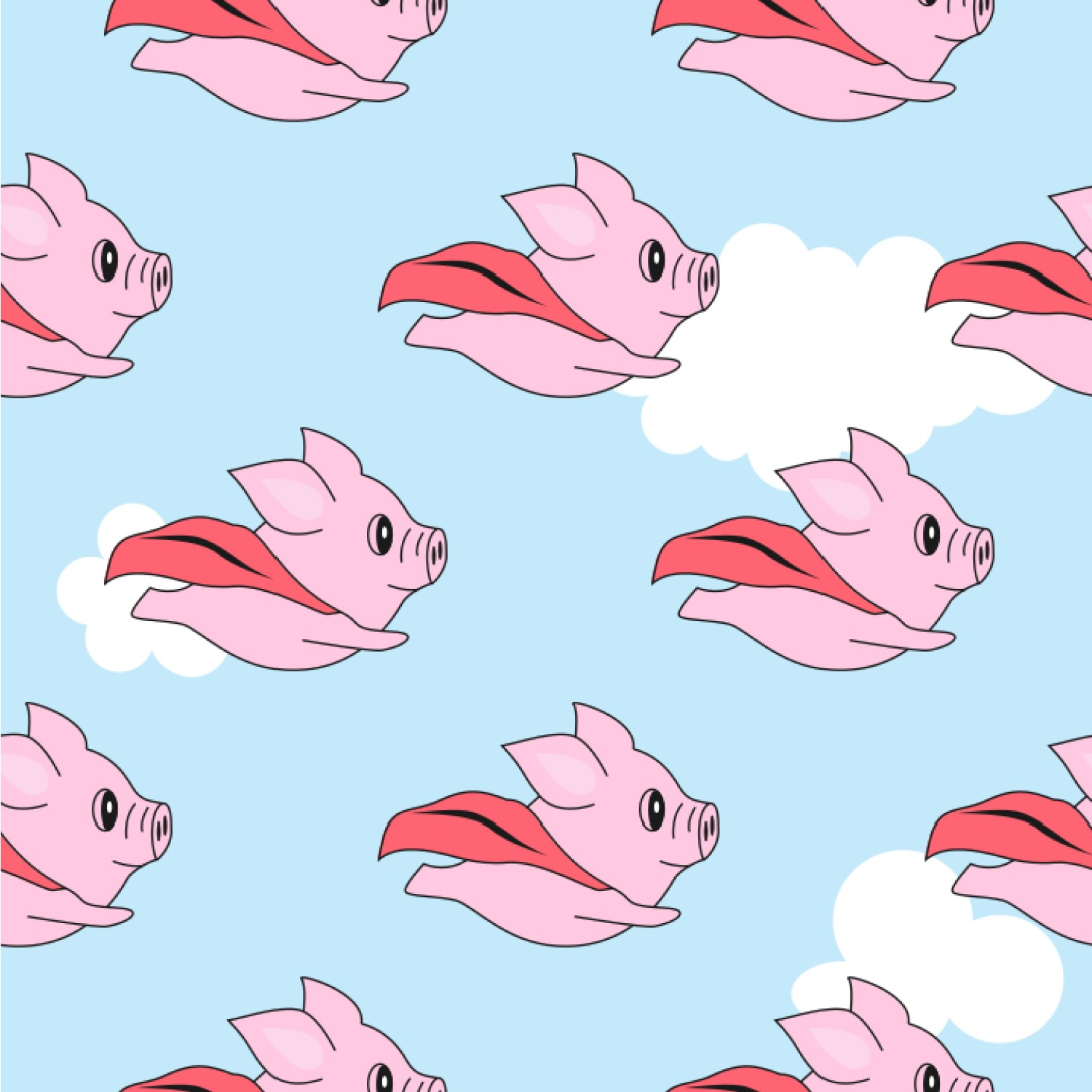 Flying pigs wallpaper surface covering youcustomizeit flying pigs wallpaper surface covering arubaitofo Images