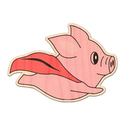Flying Pigs Genuine Maple or Cherry Wood Sticker (Personalized)