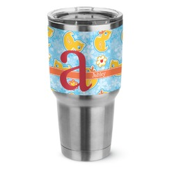 Rubber Duckies & Flowers Stainless Steel Tumbler - 30 oz (Personalized)