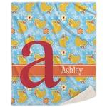 Rubber Duckies & Flowers Sherpa Throw Blanket (Personalized)