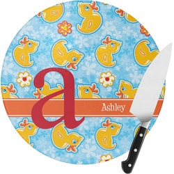 Rubber Duckies & Flowers Round Glass Cutting Board - Small (Personalized)